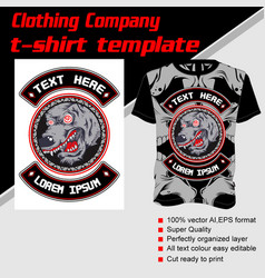 T-shirt template fully editable with wolf vector