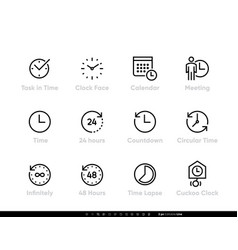 Task and time icons set clock calendar meeting vector