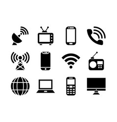 Telecommunication icon set glyph vector