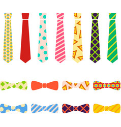 Ties and bow ties set in flat cartoon style vector