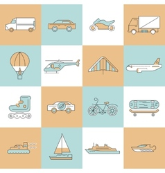 Transport icons flat line set vector image