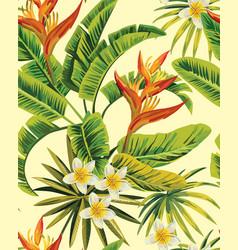 Tropical plumeria exotic flowers pattern vector