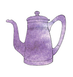Ultra violet watercolor hand drawn coffeeapot vector
