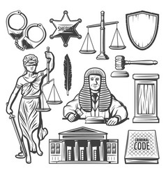 vintage judicial system elements set vector image