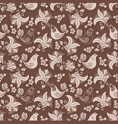 volumetric flower bird seamless pattern vector image