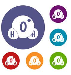 water molecule icons set vector image