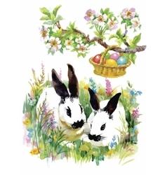Watercolor rabbits in green grass vector