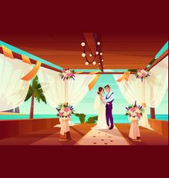 wedding ceremony on ocean shore cartoon vector image