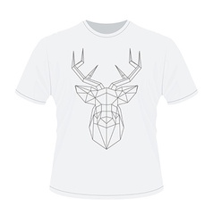 White t-shirt with polygonal haed of deer vector
