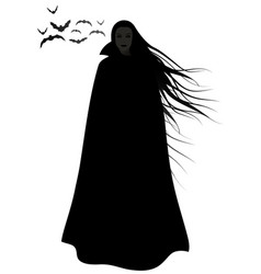 Woman silhouette with long hair blowing vector