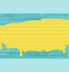 Yellow paint on a green wooden fence vector