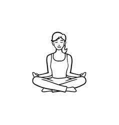 yoga lotus pose hand drawn outline doodle icon vector image