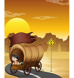 A girl inside the wagon at the street vector image vector image