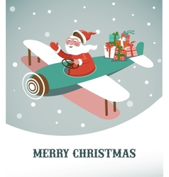 Christmas background with retro airplane and Santa vector image vector image