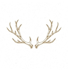 Deer Horns hand drawn logo emblem template vector image