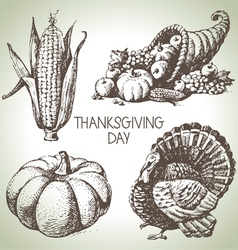 Hand drawn vintage Thanksgiving Day set vector image vector image
