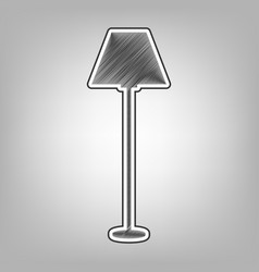 lamp simple sign pencil sketch imitation vector image