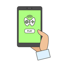 smart phone with online game app vector image vector image