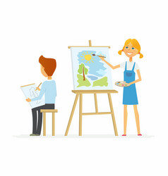 two children drawing in class - cartoon people vector image