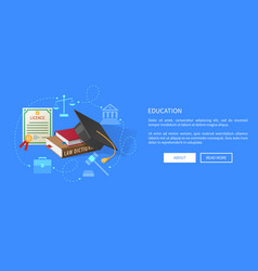 education web banner with lawyers licence books vector image vector image