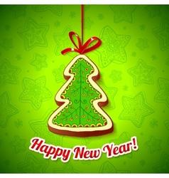 Honey cake Christmas tree on green background vector image