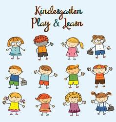 Kindergarten kids characters set vector