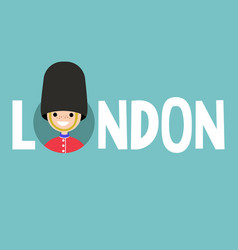 london conceptual sign smiling beefeater wearing vector image vector image