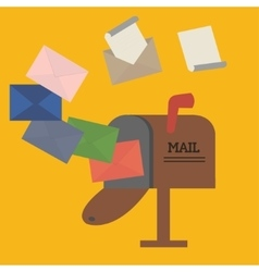 open mailbox with envelope vector image