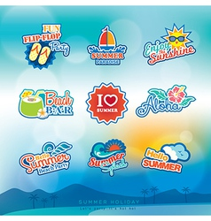 Summer label sticker badge icon set vector image