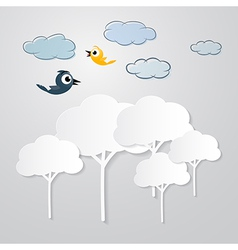 White trees cut from paper with clouds and birds vector