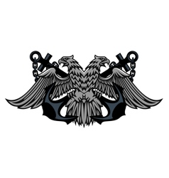 Double headed Imperial eagle on anchors vector image