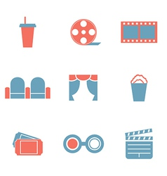 Flat Design Duotone Cinema Icons vector image