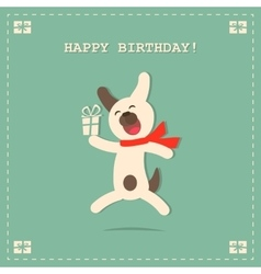 Happy Birthday Card with Dog and Gift vector image vector image