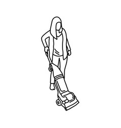 woman using a vacuum cleaner sketch vector image