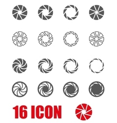 black camera shutter icon set vector image vector image