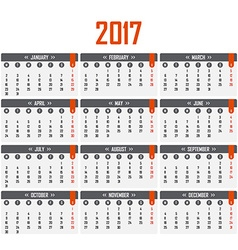 Calendar for 2017 Week starts on Monday vector image