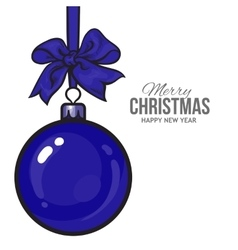 Christmas balls with blue ribbon and bows vector image vector image