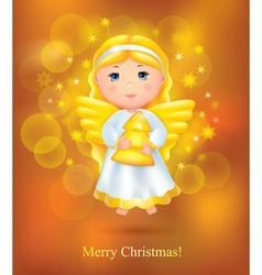 Christmas card with angel vector