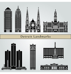 Detroit landmarks and monuments vector image