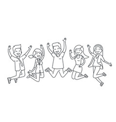 happy people jumping line vector image vector image