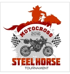 Motocross Tournament emblem - moto and horse for t vector image