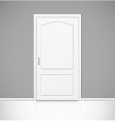 White realistic closed door in empty room interior vector image