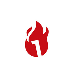 1 one number fire flame logo icon vector