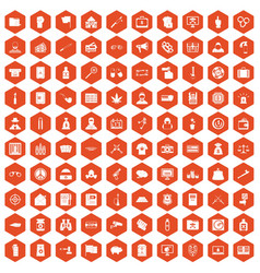 100 criminal offence icons hexagon orange vector image