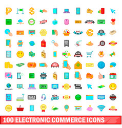 100 electronic commerce icons set cartoon style vector image