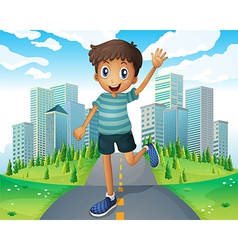 A boy waving while running in the middle of the vector