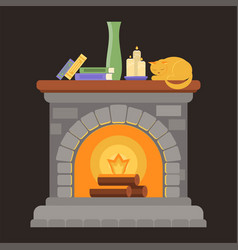 a fireplace made of gray bricks with a wooden vector image