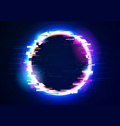 Abstract glitch ring with distortion light effect vector