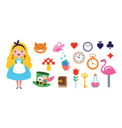 Alice in wonderland banner poster and card we vector