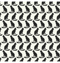 Animal seamless pattern of cat silhouettes vector image